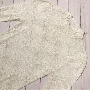 Free People Lace Top Long Sleeve High Neck Ivory